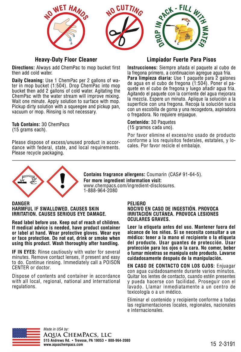 cleaning chempacs back label and directions