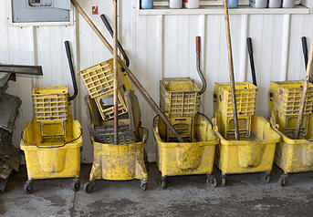 dirty mop buckets --- cleaning chemical mistakes --- aqua chempacs