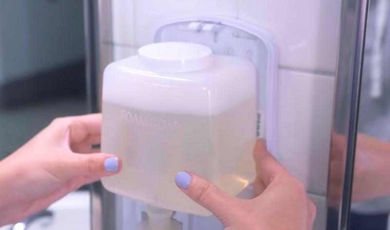 dissolving hand soap dispenser | aqua chempacs | how to use